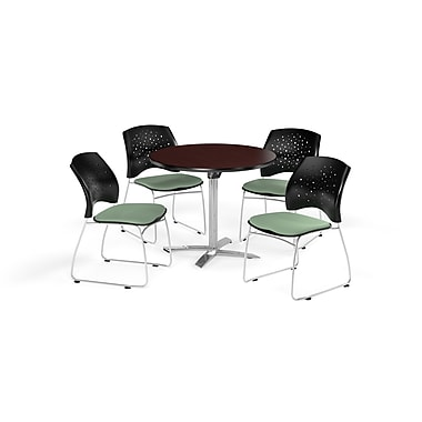 OFM 36 Inch Round Flip Top Mahogany Table and Four Sage Green Chairs (PKG-BRK-165-0039)