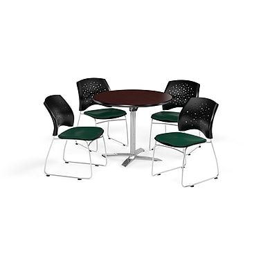 OFM 36 Inch Round Flip Top Mahogany Table and Four Forest Green Chairs (PKG-BRK-165-0047)
