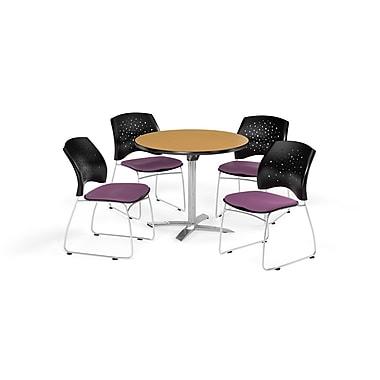 OFM 36 Inch Round Flip Top Oak Table and Four Plum Chairs (PKG-BRK-165-0061)