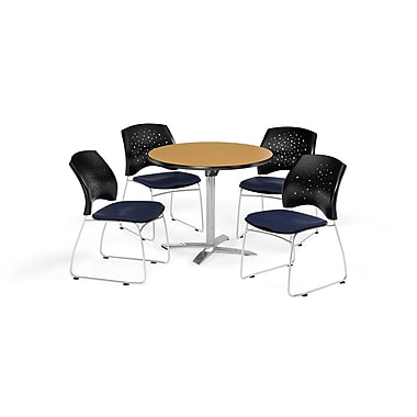 OFM 36 Inch Round Flip Top Oak Table and Four Navy Chairs (PKG-BRK-165-0051)