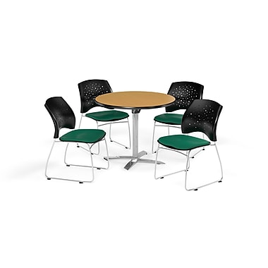 OFM 36 Inch Round Flip Top Oak Table and Four Shamrock Green Chairs (PKG-BRK-165-0049)