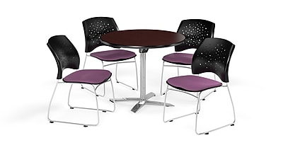 OFM 36 Inch Round Flip Top Mahogany Table and Four Plum Chairs (PKG-BRK-165-0045)
