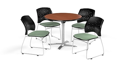 OFM 36 Inch Round Flip Top Cherry Table and Four Sage Green Chairs (PKG-BRK-165-0007)