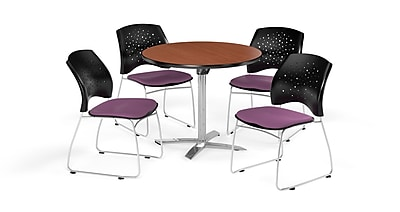 OFM 36 Inch Round Flip Top Cherry Table and Four Plum Chairs (PKG-BRK-165-0013)