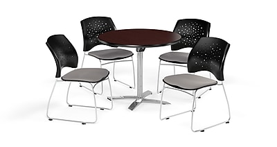 OFM 36 Inch Round Flip Top Mahogany Table and Four Putty Chairs (PKG-BRK-165-0046)