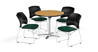 OFM 36 Inch Round Flip Top Oak Table and Four Forest Green Chairs (PKG-BRK-165-0063)