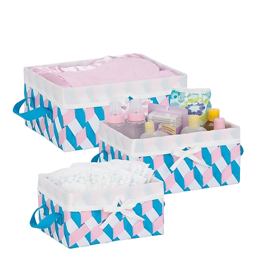 Honey Can Do Twisted Tote Set of 3, Pink, Blue, White