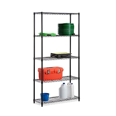 Honey Can Do Black powdercoat 5-tier shelving- 18x36x72 inch; 350lb capacity, black powder coat ( SHF-06831 )