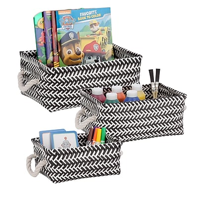 Honey Can Do Zig Zag Set of 3 Baskets, Black