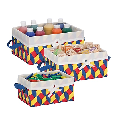 Honey Can Do Twisted Tote Set of 3, Red Yellow Blue