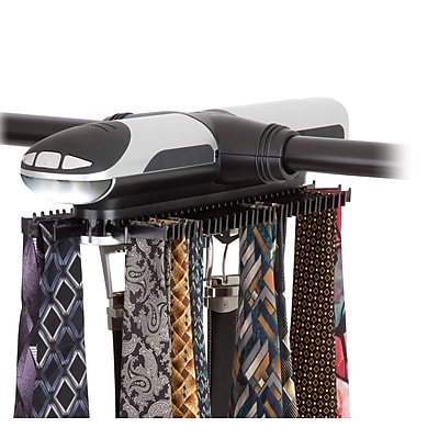 Honey-Can-Do Illuminated Electronic Tie Rack, Back & Silver (HNG-03222)