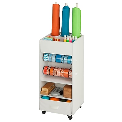 Honey Can Do craft storage with fabric bin, white ( CRT-06342 )