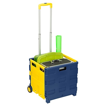 Honey Can Do foldable rolling cart, pack and roll, blue/yellow ( CRT-03622 )