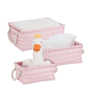 Honey Can Do Zig Zag Set of 3 Baskets, Pink