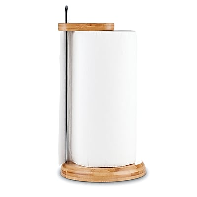 Honey Can Do bamboo paper towel holder, bamboo / stainless ( KCH-06528 )