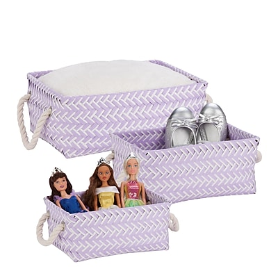 Honey Can Do Zig Zag Set of 3 Baskets, Lilac Purple