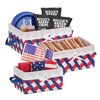 Honey Can Do Twisted Tote Set of 3, Red White Blue