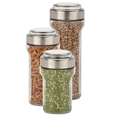 Honey Can Do 3 Pcs Storage Jar Set, stainless/clear ( KCH-06409 )