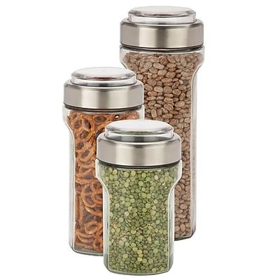 Honey Can Do 3 Pcs Storage Jar Set, stainless/clear ( KCH-06409 )