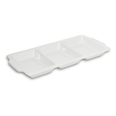 Honey Can Do 3-Section Divided Serving Dish, 16 Inch by 8 Inch, white ( 8145 )