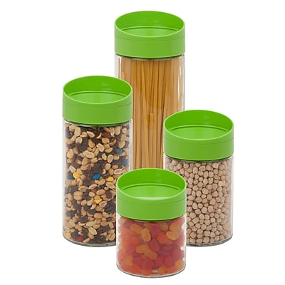 Honey Can Do 4 Pcs Storage Jar Set, clear/green ( KCH-06399 )