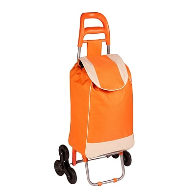 Honey Can Do R92022 - rolling fabric bag cart with tri wheels, orange/white ( CRT-04789 )