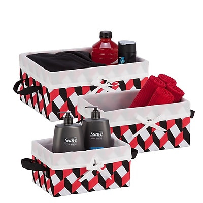 Honey Can Do Twisted Tote Set of 3, Black, Red, White