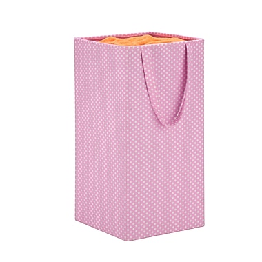 Honey Can Do foldable square hamper, pink polka dot ( HMP-06314 )