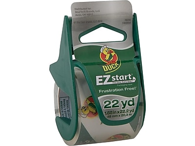 Clear 3 Rolls 150 Total Yards of 1.88 Inch Tape Duck EZ Start Packing Tape 2 Dispensers