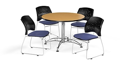 OFM 42 Inch Round Multi-Purpose Oak Table and Four Colonial Blue Chairs (PKG-BRK-168-0052)