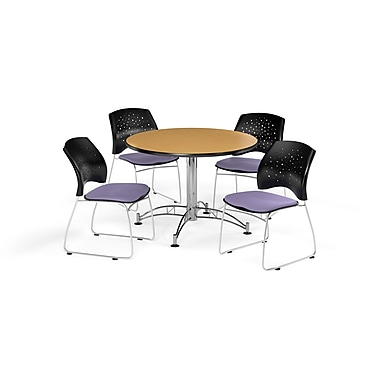 OFM 42 Inch Round Multi-Purpose Oak Table and Four Lavender Chairs (PKG-BRK-168-0050)