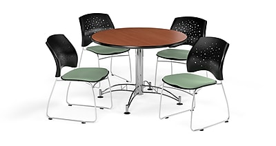 OFM 42 Inch Round Multi-Purpose Cherry Table and Four Sage Green Chairs (PKG-BRK-168-0007)