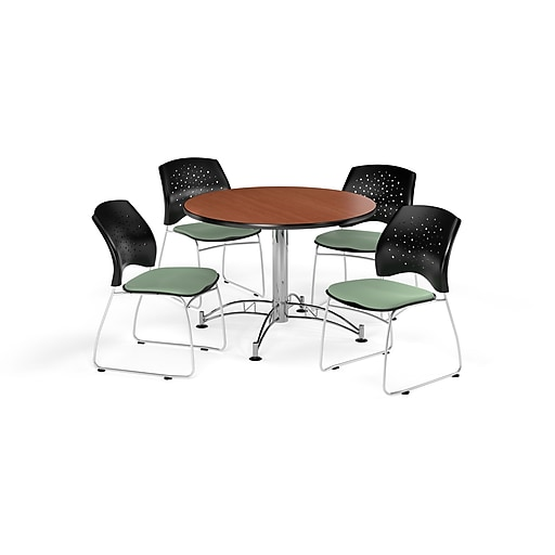 OFM Inch Round MultiPurpose Cherry Table And Four Sage Green - 42 inch round office table