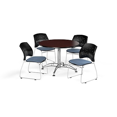 OFM 42 Inch Round Multi-Purpose Mahogany Table and Four Cornflower Blue Chairs (PKG-BRK-168-0038)