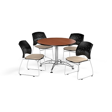 OFM 42 Inch Round Multi-Purpose Cherry Table and Four Khaki Chairs (PKG-BRK-168-0009)