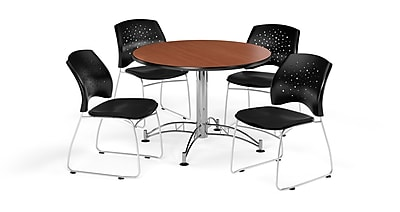 OFM 42 Inch Round Multi-Purpose Cherry Table and Four Black Chairs (PKG-BRK-168-0016)