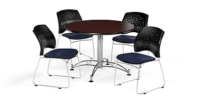 OFM 42 Inch Round Multi-Purpose Mahogany Table and Four Navy Chairs (PKG-BRK-168-0035)