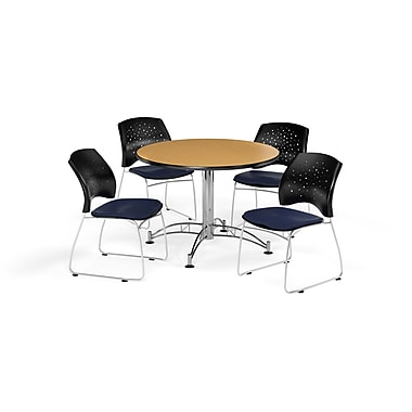 OFM 42 Inch Round Multi-Purpose Oak Table and Four Navy Chairs (PKG-BRK-168-0051)