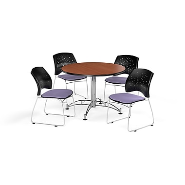OFM 42 Inch Round Multi-Purpose Cherry Table and Four Lavender Chairs (PKG-BRK-168-0002)