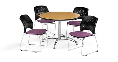 OFM 42 Inch Round Multi-Purpose Oak Table and Four Plum Chairs (PKG-BRK-168-0061)