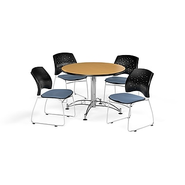 OFM 42 Inch Round Multi-Purpose Oak Table and Four Cornflower Blue Chairs (PKG-BRK-168-0054)