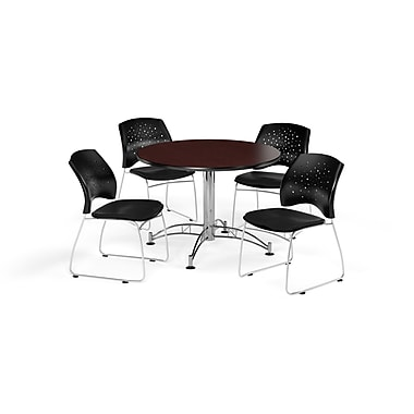 OFM 42 Inch Round Multi-Purpose Mahogany Table and Four Black Chairs (PKG-BRK-168-0048)