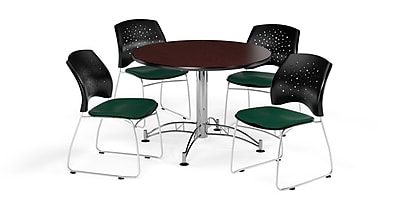 OFM 42 Inch Round Multi-Purpose Mahogany Table and Four Forest Green Chairs (PKG-BRK-168-0047)