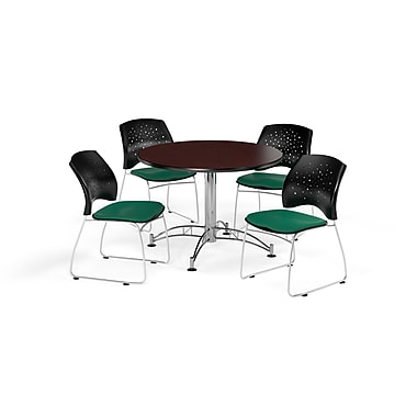 OFM 42 Inch Round Multi-Purpose Mahogany Table and Four Shamrock Green Chairs (PKG-BRK-168-0033)