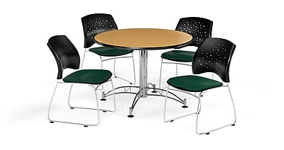 OFM 42 Inch Round Multi-Purpose Oak Table and Four Forest Green Chairs (PKG-BRK-168-0063)