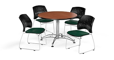 OFM 42 Inch Round Multi-Purpose Cherry Table and Four Forest Green Chairs (PKG-BRK-168-0015)