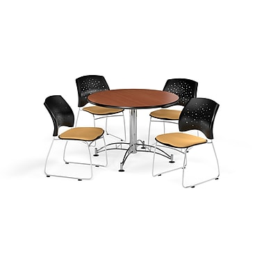 OFM 42 Inch Round Multi-Purpose Cherry Table and Four Golden Flax Chairs (PKG-BRK-168-0005)