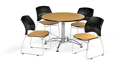 OFM 42 Inch Round Multi-Purpose Oak Table and Four Golden Flax Chairs (PKG-BRK-168-0053)