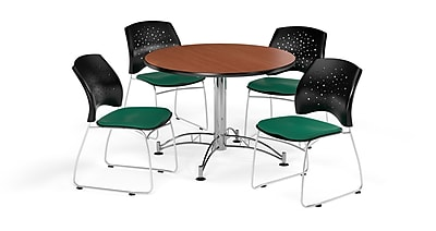 OFM 42 Inch Round Multi-Purpose Cherry Table and Four Shamrock Green Chairs (PKG-BRK-168-0001)