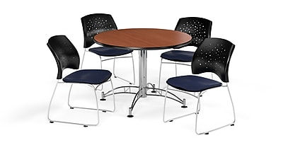 OFM 42 Inch Round Multi-Purpose Cherry Table and Four Navy Chairs (PKG-BRK-168-0003)